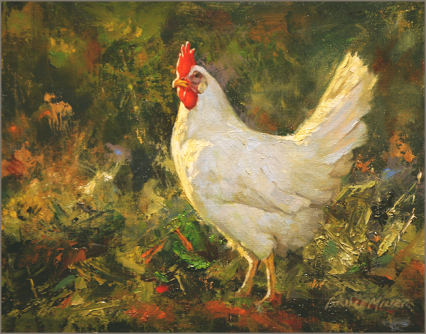 Chicken Painting Leghorn Original Oil Painting White Chicken Bruce Miller